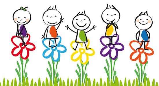 Fröhliche Strichmännchen auf Blumen